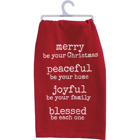 Merry Peaceful Joyful Blessed Dish Towel (34917)