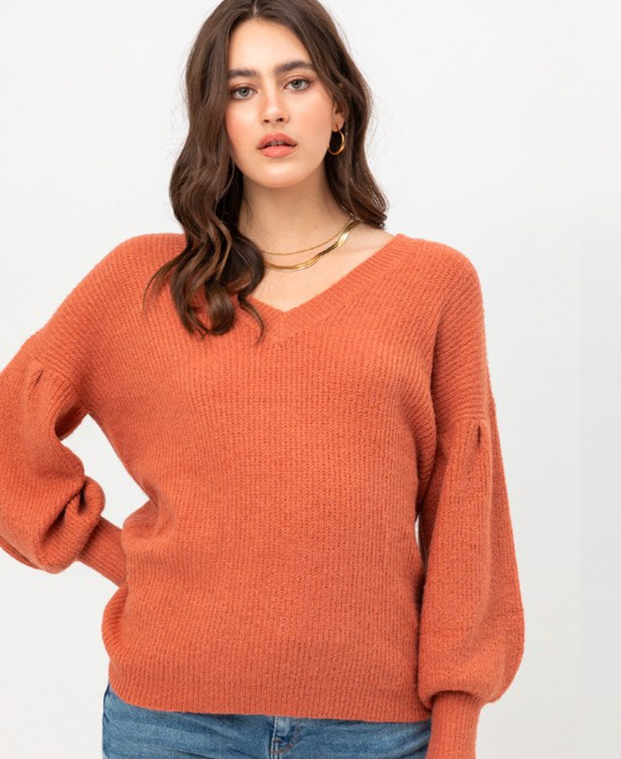Terra Cotta Puff Sleeve Pullover Sweater (9750WN)