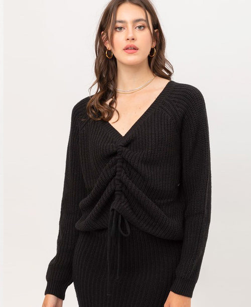 Black Tie Front Pullover Sweater (9847WN-INT)