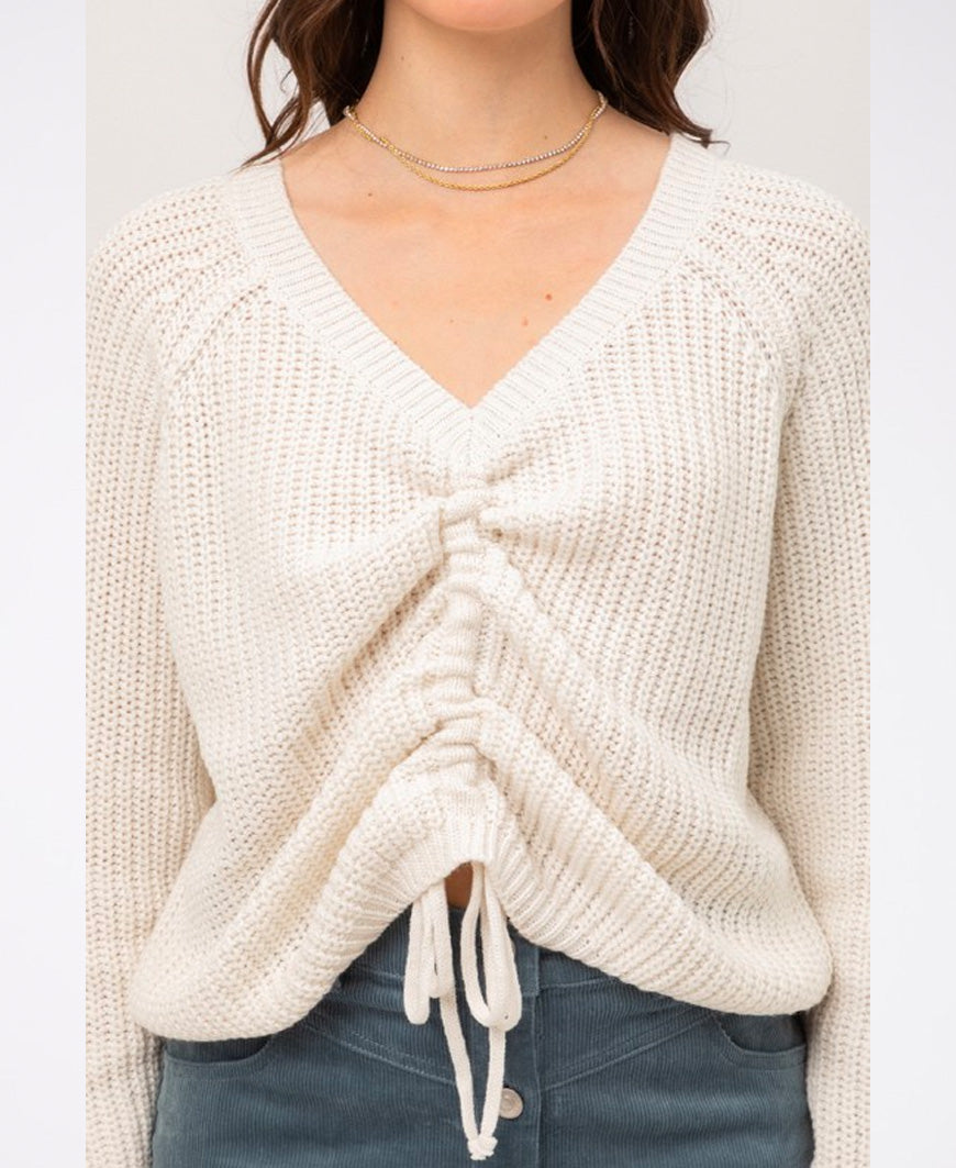 Ivory Tie Front Pullover Sweater (9847WN-INT)