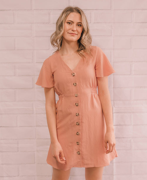 Apricot Button Up Flutter Mini Dress (TB5644)