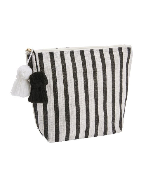 Jute Black White Stripe Cosmetic Bag