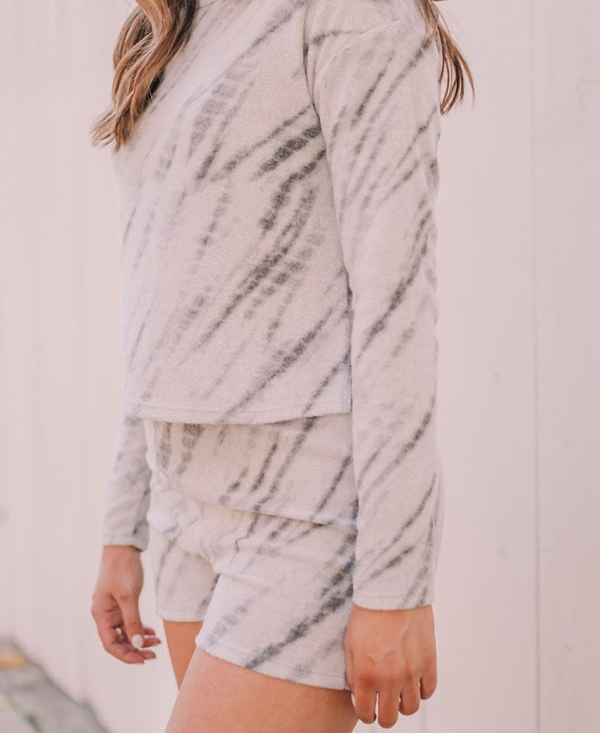 Taupe Brush Tie Dye Lounge Shorts
