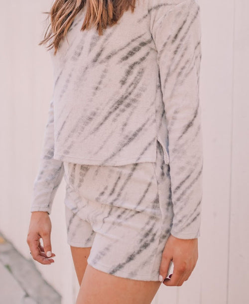 Grey Brush Tie Dye Lounge Shorts