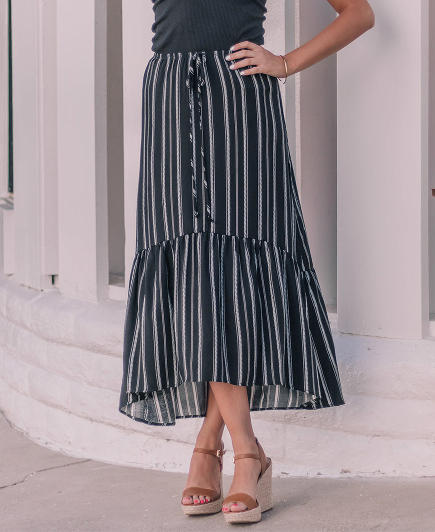 Black and White Striped 'Skylar' Hi-Low Ruffle Skirt (14845-55)