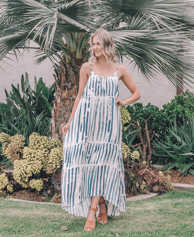 Natural Stripe Spaghetti Strap Midi Dress (TPD-2353C)