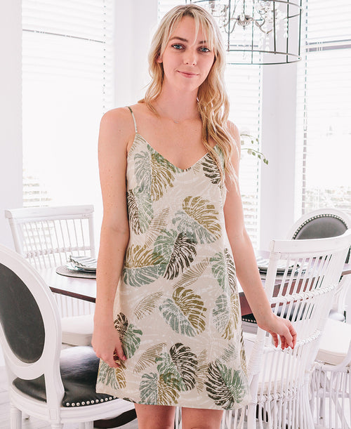 Beige Palm Print Iris Bow Back Dress