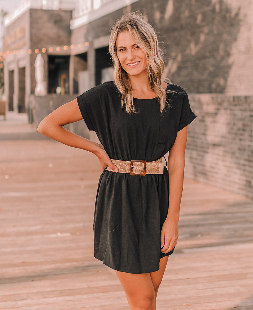 Black Belted Linen Shirt Dress (TB5639)