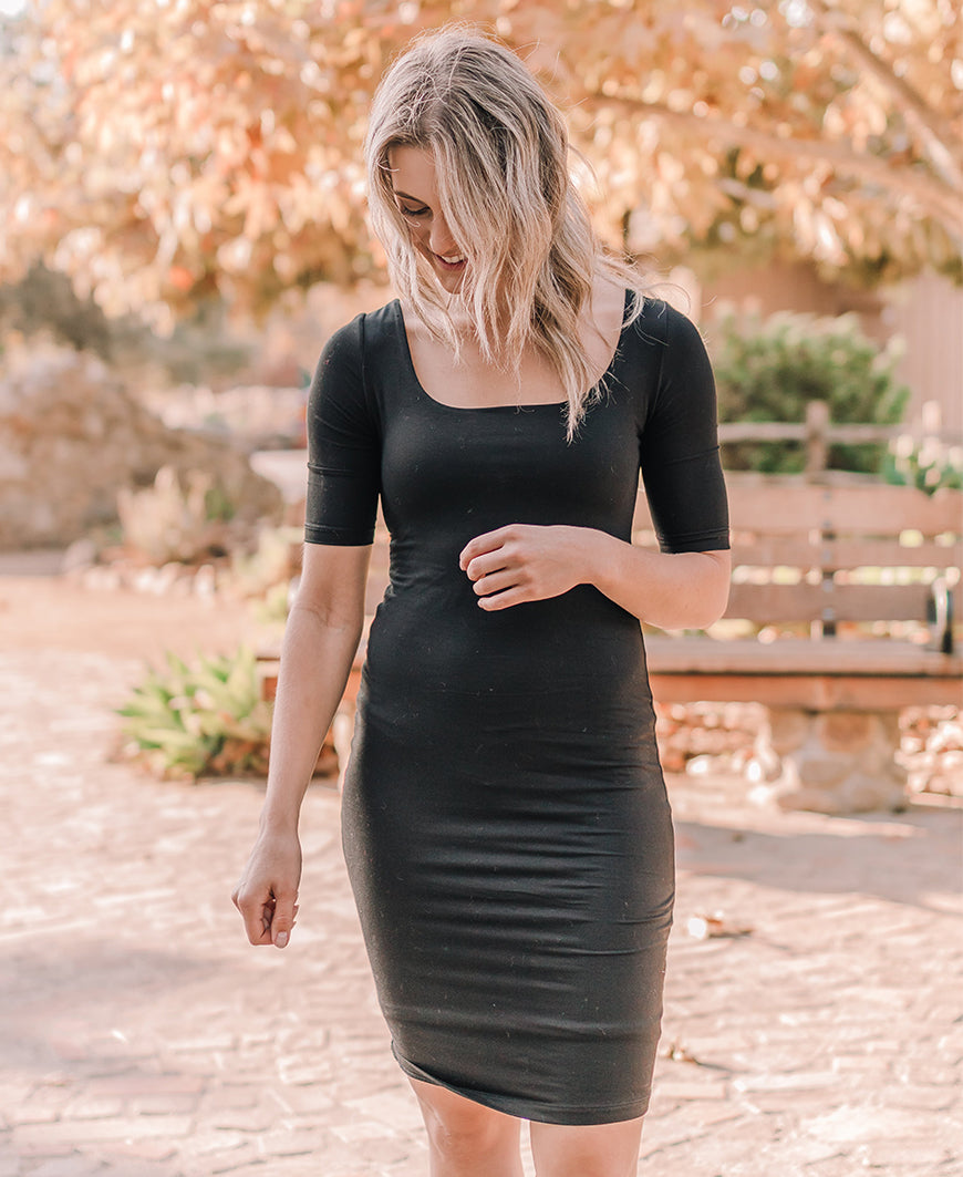 Black 1/2 Sleeve Bodycon Midi Dress (D16913)
