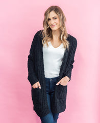 Black Soft Open Pocket Cardigan (HR3272)