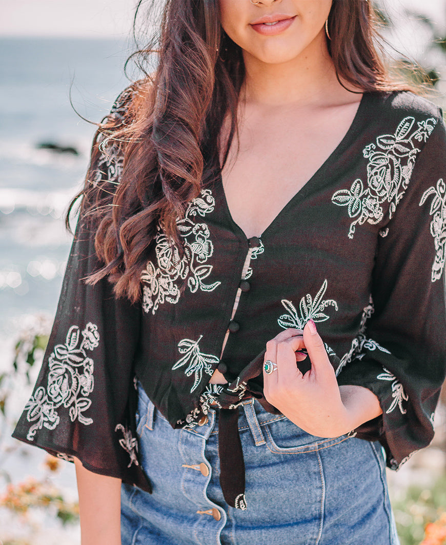 Black Floral Embroidered Tie Front Crop Top