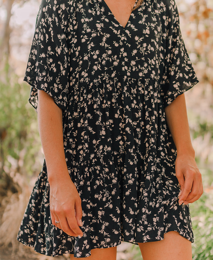 Black Tiered Floral Dress (ID30830B)