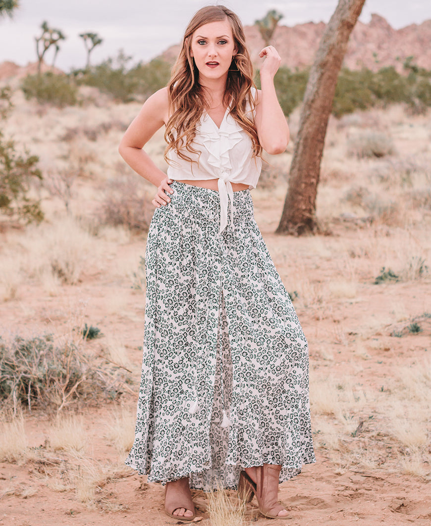 White & Black Floral Open Front Maxi Skirt