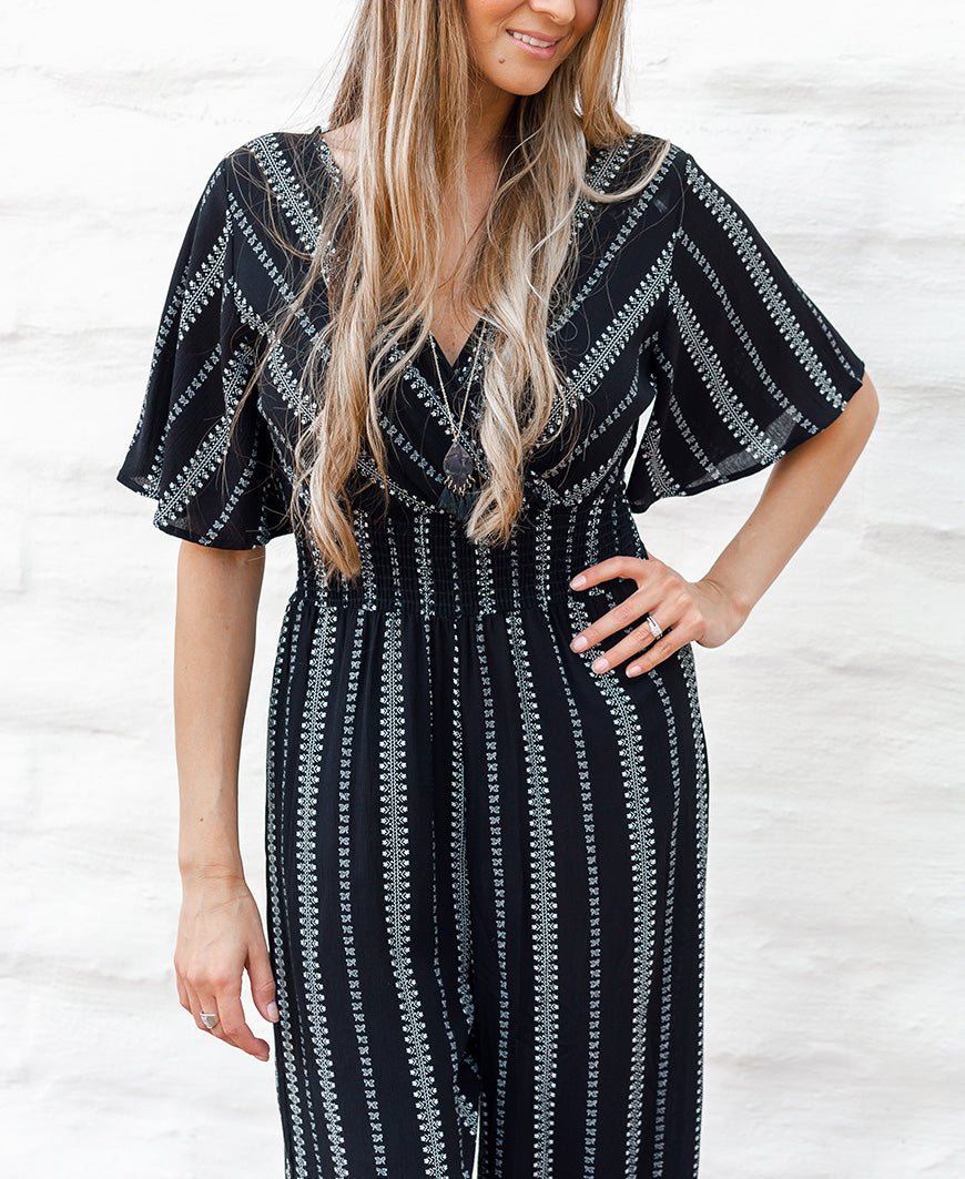Black Boho Printed Cropped Jumpsuit