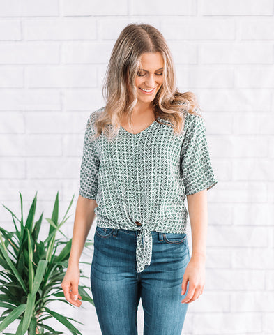 Grey Striped Short Sleeve Knot Top (14788)