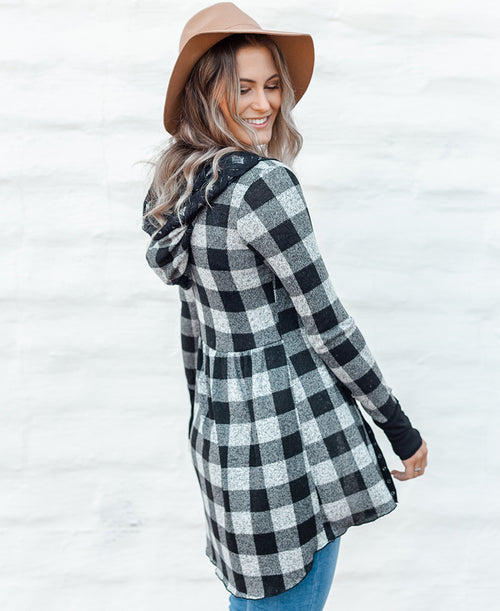 Black & Grey Buffalo Plaid 'Kim' Babydoll Hoodie
