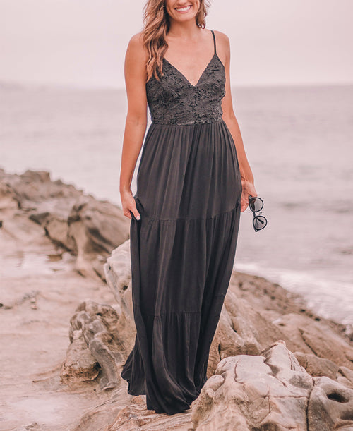 Black Floral Lace Maxi Dress (FD40074)