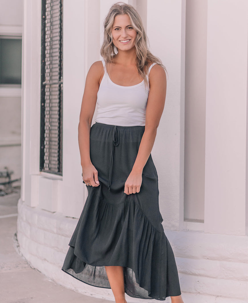 Black 'Skylar' Hi-Low Ruffle Skirt (14845-55)