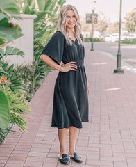 Black 'Frankie' Smocked Midi Dress (15047)