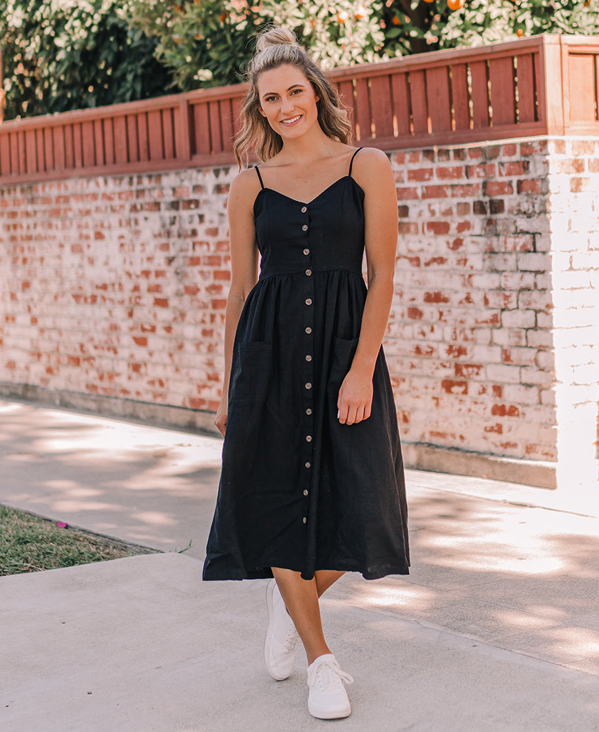 Black Button Front Midi Dress (4556DY)