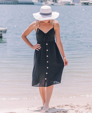 Black Vacay Wrap Mini Dress (14830-55)