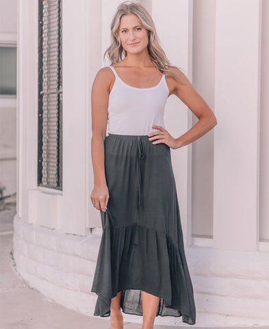 Gray Striped 'Skylar' Hi-Low Ruffle Skirt (14845-55)