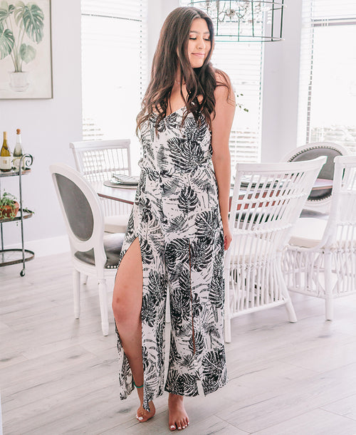 Black Palm Print 'Jenna' Split Leg Jumpsuit