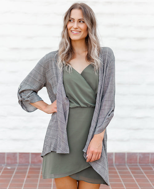 Black Plaid Drapey Blazer Cardigan