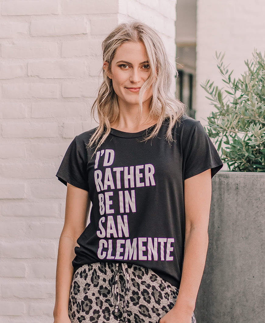 Black Rather Be In San Clemente Graphic Tee (15087)