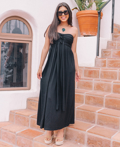 Black Strapless 3-Way Maxi Dress (90384)