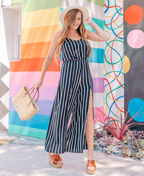 Black Stripe 'Jenna' Split Leg Jumpsuit