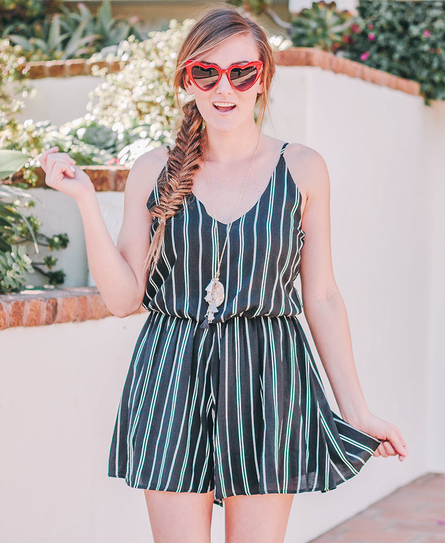 Black Striped Cami Romper