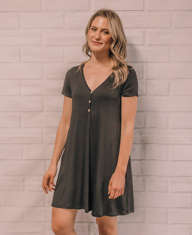 Black Ruched Bodycon T-Shirt Dress (ID2415)