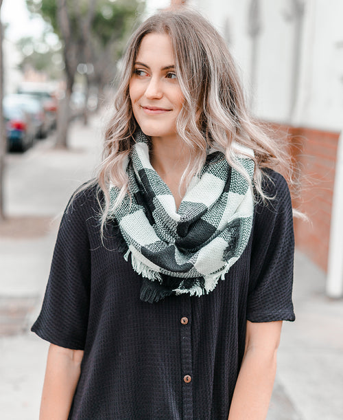White & Black Buffalo Plaid Infinity Scarf