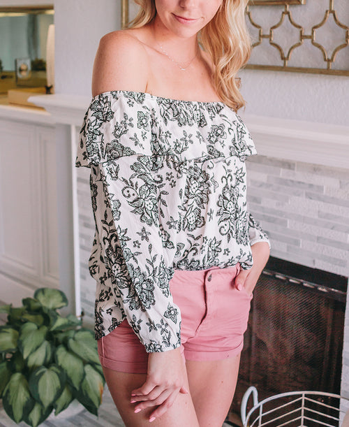 Embroidered Print 'Robin' Off-the-Shoulder Blouse