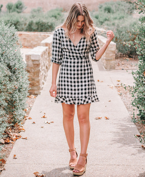Black & White Gingham Bow Back Dress