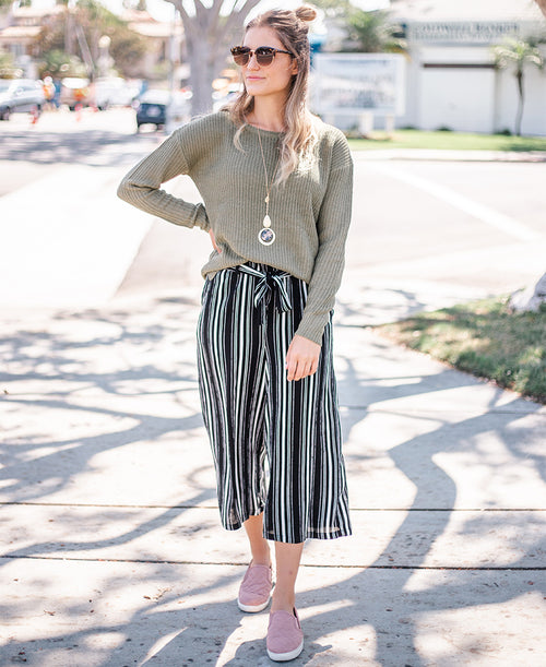 Black & White Striped Tie Waist Cropped Pants
