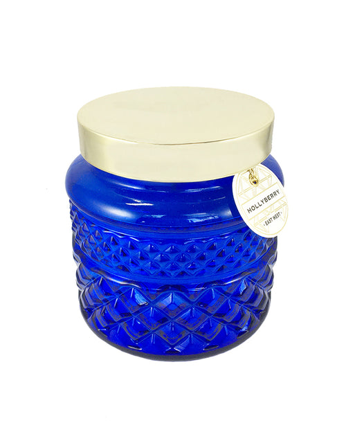 Blue Glass Hollyberry Candle (308286)