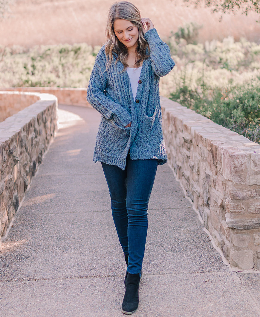 Dusty Blue Button Up Cardigan (HR3271)