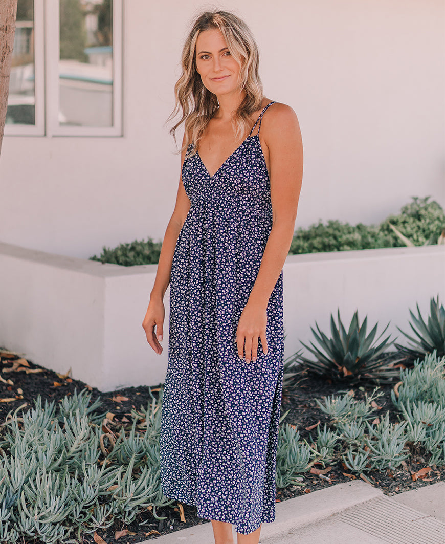 Navy Floral Double Strap Maxi Dress (D2854S)