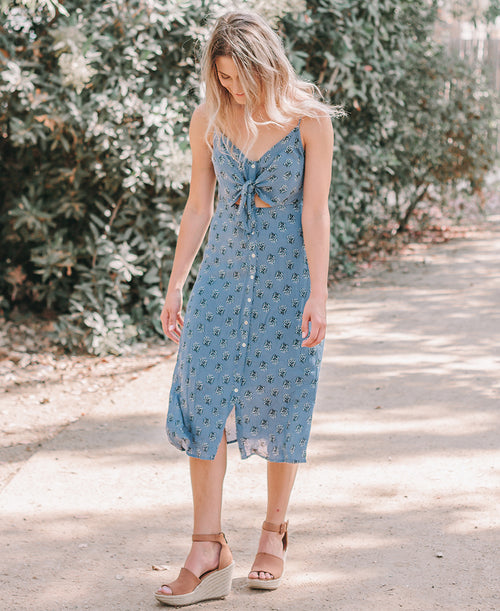 Blue Floral Print Button Down Midi Dress