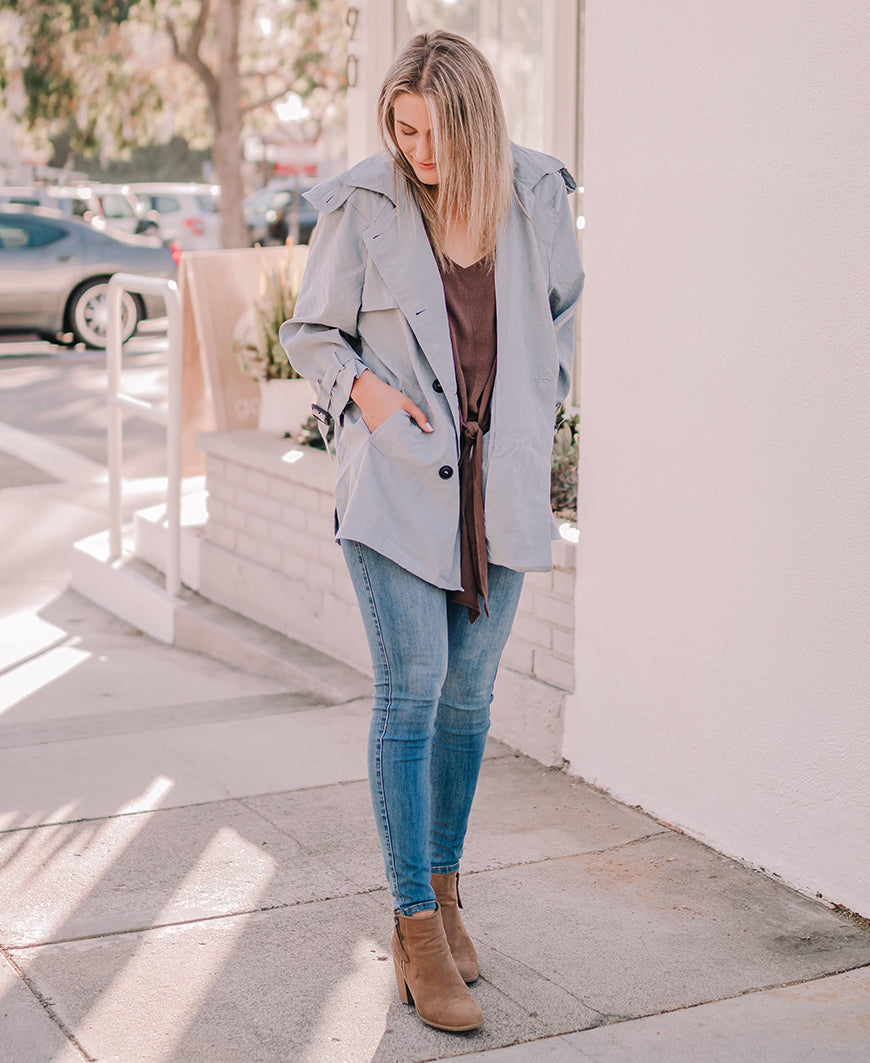 Blue Gray Hooded Short Trench Coat (SJ17829)