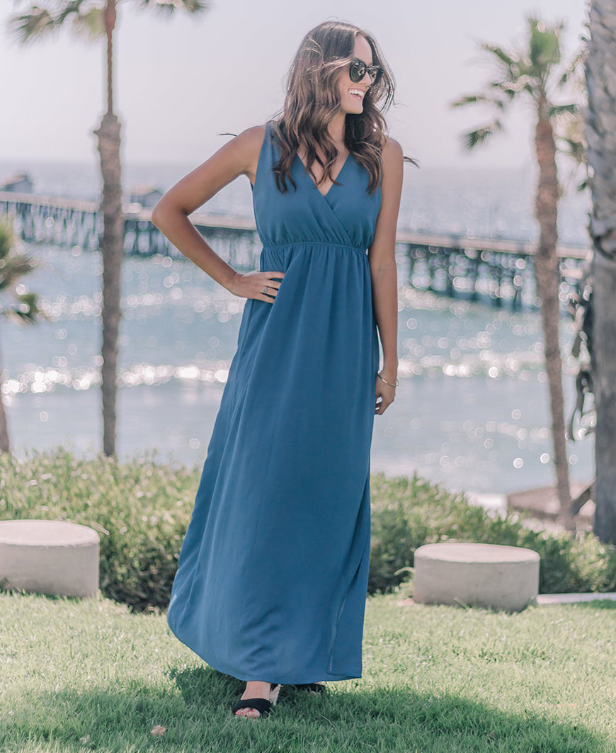 Blue Crepe Maxi Dress (R66031)