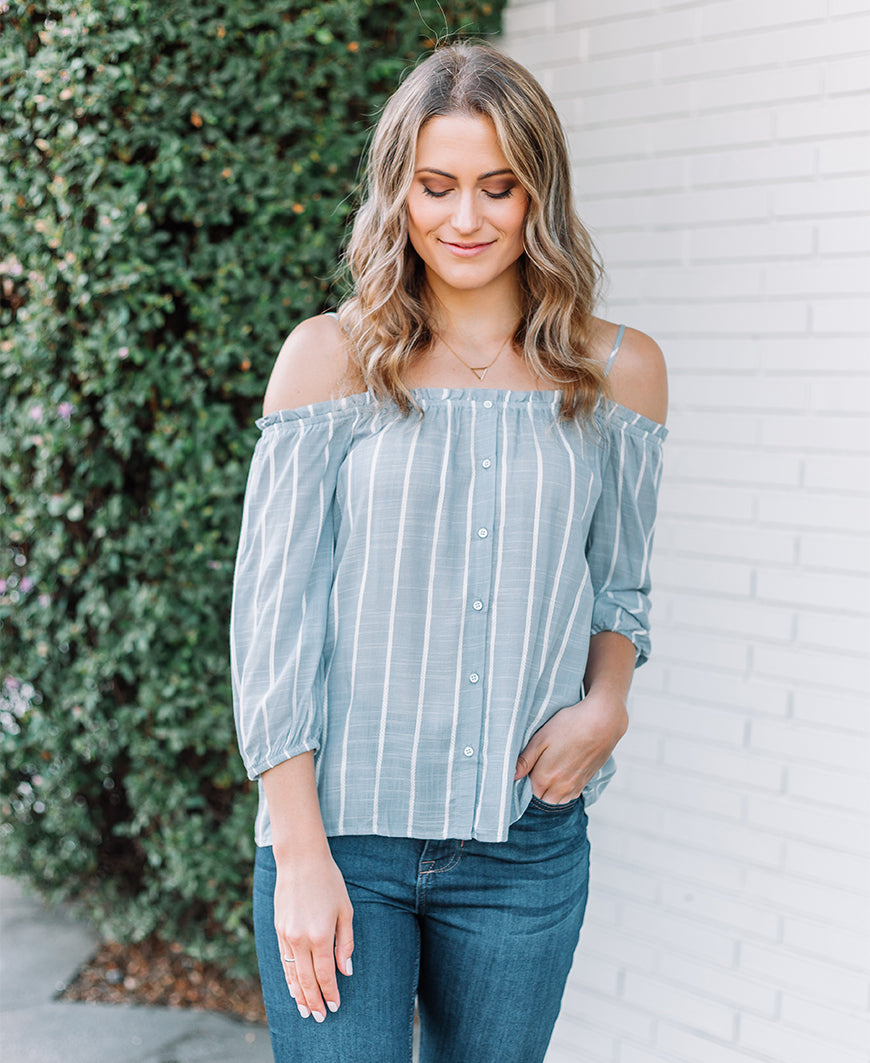 Cold Shoulder Striped Blouse (16832)
