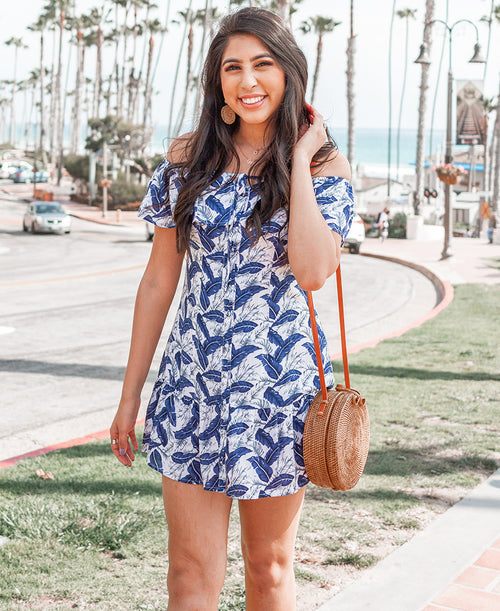 Navy Palm Print Off-the-Shoulder Dress