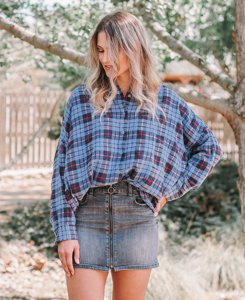 Blue Plaid Flannel Oversized Shirt