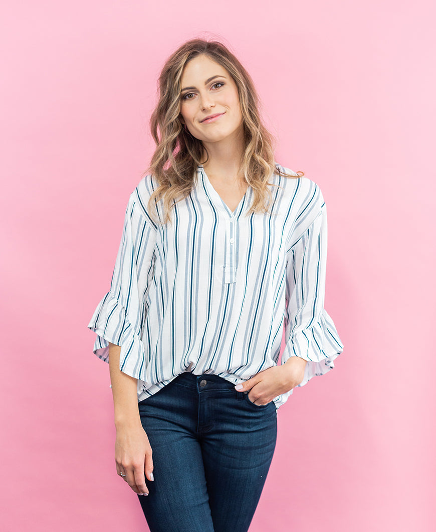 Navy Stripe Tie Ruffle Sleeve Blouse (LT24450)