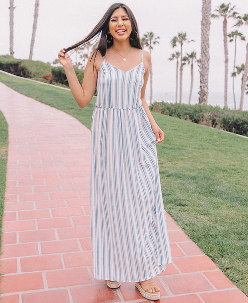 Blue Stripe 'Edith' Maxi Dress