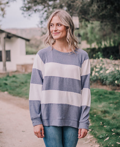 Dusty Blue Lace Up Asymmetrical Sweater (IM4765)