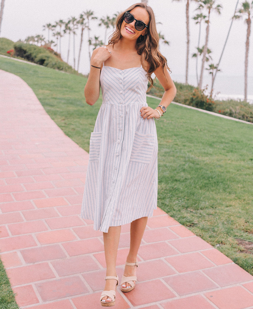 White & Blue Striped Cotton Dress
